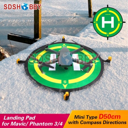 Sunnylife Foldable Landing Pad Helipad 50cm with Compass Directions for AIR 2S/DJI FPV/MINI 2/AIR 2/SPARK/PRO/Phantom 3/4/PRO V2.0 MAVIC Air