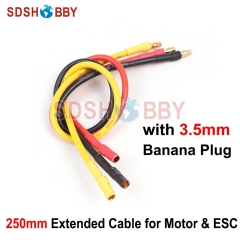 Motor & ESC Extended Cable 14AWG Silicone Cable 250mm Extension Cable Wire with 3.5mm Banana Plug Airplane Multicopter Accessory