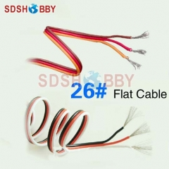 DIY Futaba /JR Color 26# 26AWG Servo Extension Cable/ Flat Cable 1M without Connector-1m