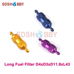 6STARHOBBY Long Fuel Filter D4xD3xD11.8xL43 for Gas Airplane- Blue/ Yellow/ Purple Color