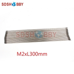 M2*L300mm Stainless Steel Push Rod with Dual End Teeth for Servos, M2 Ball Linkage