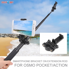 Sunnylife Smartphone Bracket Selfie Holder Support on Extension Rod for POCKET 2/FIMI PALM 2/OSMO POCKET/ACTION/GoPro 8 MAX Sports Cameras