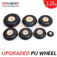 3.25in/83mm PU Wheels RC Airplane Wheels Upgraded PU Wheels With Golden Aluminum Hub D83*H30*4mm