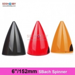 6in/152mm Carbon Fiber Verisimilitude Spinner For SBach Plane With Carbon Fiber Back Plate, 3K Surface Processed