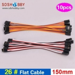 10pcs* 26#/ 26AWG Flat Cable 15cm 150mm Connecting Line For Flight Control/ Male-Male Servo Wire- JR/ Futaba Color