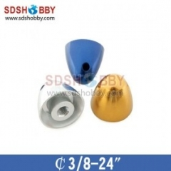 Aluminum Adaptor Spinner D3/8-24in D32 X H30 Mm-Blue/ Silver/Yellow Color For RC Model Airplanes