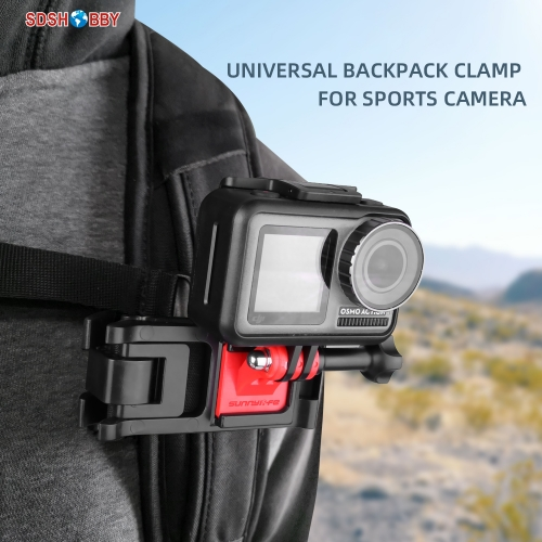 Sunnylife Sports Camera Backpack Clamp Universal Adjustable Clips for Insta360 One R GoPro 8 Osmo Action Osmo Pocket