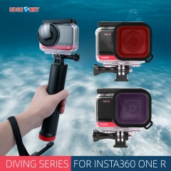 Sunnylife Waterproof Protective Case Underwater Housing Case 3 Colors Diving Filters for Insta360 One R Sport Camera