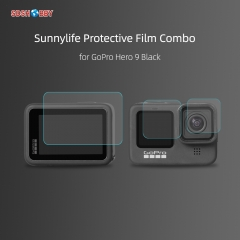 Sunnylife Protective Film Set Tempered Glass Lens Film Front Rear Screen Protector for GoPro Hero 9 Black