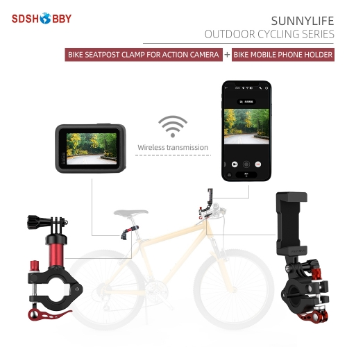 Sunnylife Bike Seat Post Clamp Sports Camera Holder Bicycle Mobile Phone Holder Navigation Bracket for GoPro 9/Osmo Pocket/Insta360 One R
