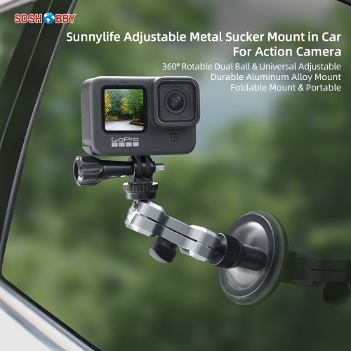 Sunnylife Aluminum Alloy Car Sucker Mount Suction Cup Bracket Phone Holder for Pocket 2/GoPro 9/ Insta360 One X2/Osmo Action