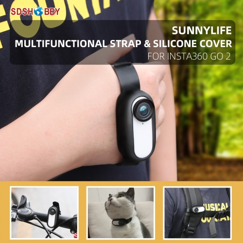 Sunnylife Multifunctional Camera Strap Silicone Protective Cover Wristband Palm Backpack Stripe Bicycle Strap Cat Collar for Insta360 GO 2